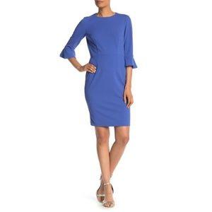 nwt Donna Morgan Blue Ruffle Cuff Sheath Dress